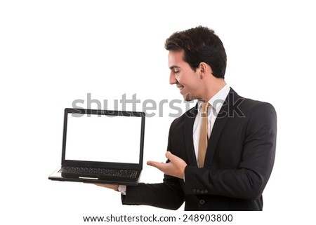 Young man presenting your product in a laptop computer