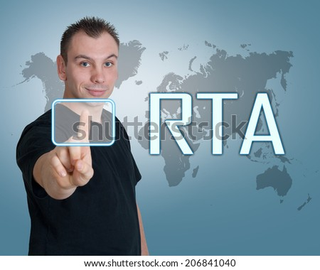 Young man press digital RTA - Real Time Advertising button on interface in front of him