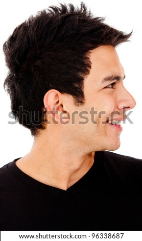 Young man profile - isolated over a white background