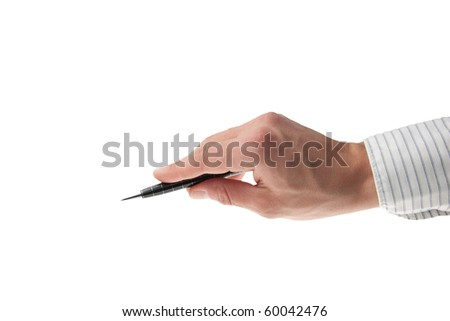 young man's hand with business shirt holding a pen