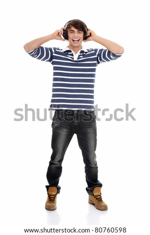 Young man's singing with headphones. Isolated on white background. - stock photo