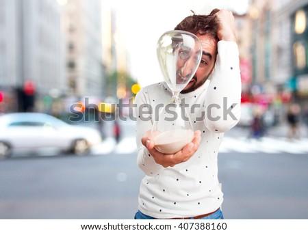 young man sad expression - stock photo