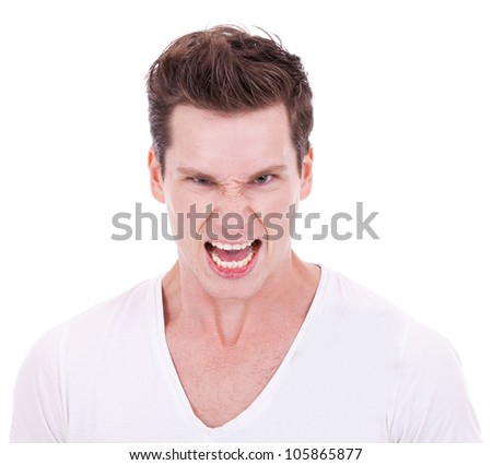 young man screaming at the camera on white background