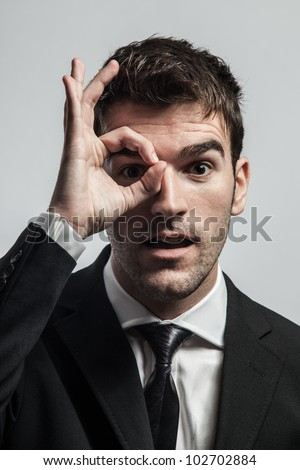 Young man searching for new ideas with energy and dedication. - stock photo
