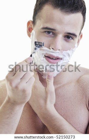 young man shave isolated on white
