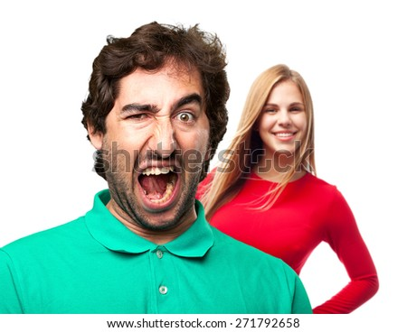 young man shouting - stock photo