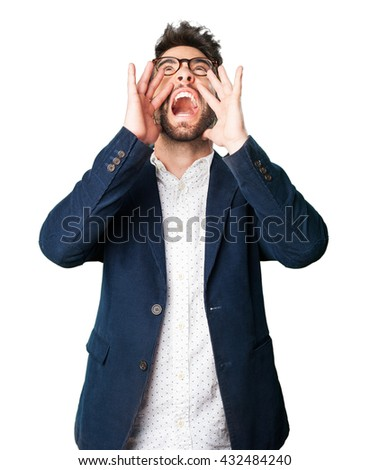 young man shouting - stock photo