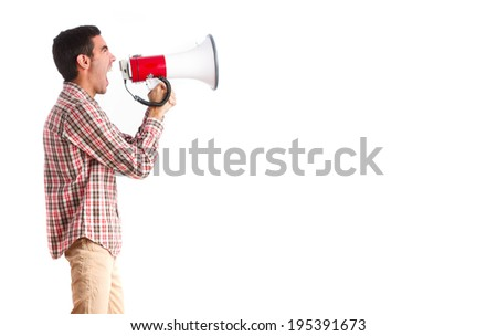 young man shouting on megaphone