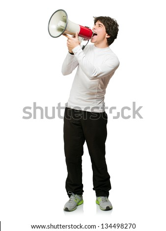 Young Man Shouting Through Megaphone Isolated On White Background