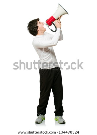 Young Man Shouting Through Megaphone Isolated On White Background - stock photo