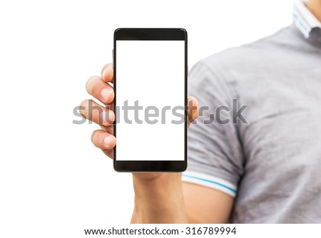Young man showing a mobile phone application, close up - stock photo