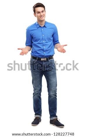 Young man showing his palms - stock photo