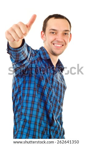young man showing thumb up isolated on white