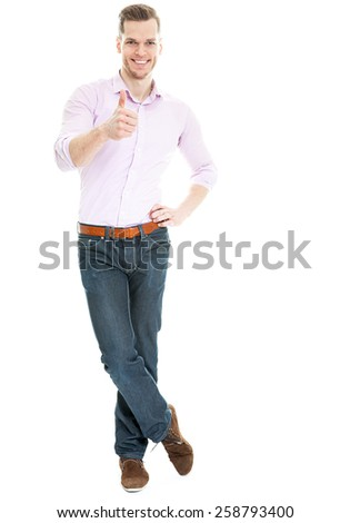 young man showing thumb up isolated on white background - stock photo