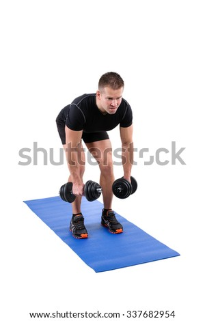 Young man shows starting position of Standing Bent Over Dumbbell Reverse Fly workout, isolated on white - stock photo