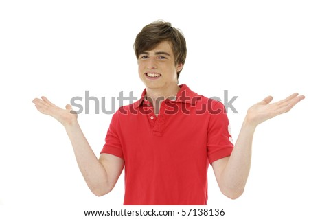 young man shrugging, isolated