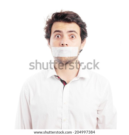 Young man silenced by tape