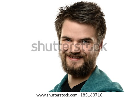 Young man smiling isolated over white background
