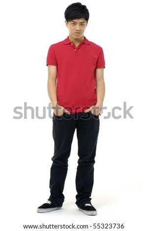 young man smiling on a white - stock photo
