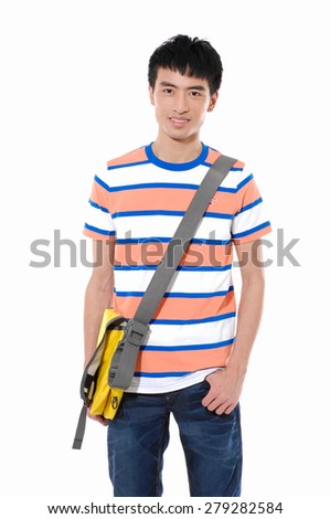 young man standing man with backpack posing on white background - stock photo
