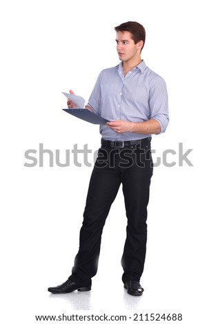 Young man standing with folder, isolated on white background - stock photo