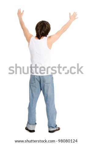 Young man standing with his hands up your back