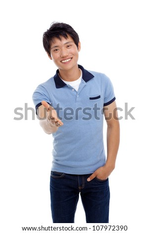 Young man suggest shake. - stock photo