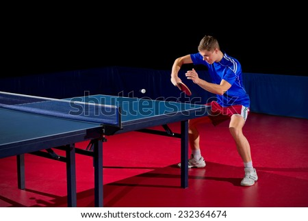 Young man table tennis player (isolated ver)