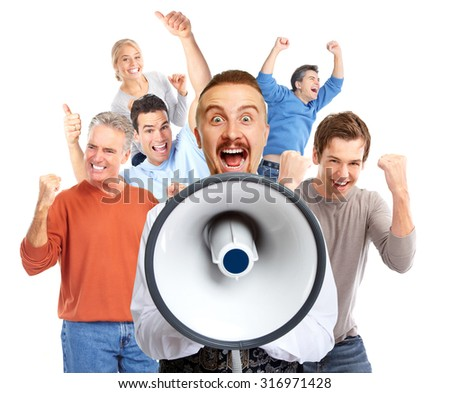 Young man talking in loud-hailer and group of happy people. - stock photo