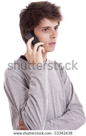 young man talking on mobile phone - stock photo