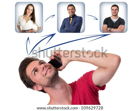 Young Man talking on the phone and networking with friends - stock photo