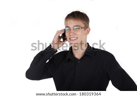 young man talking on the phone fun - stock photo