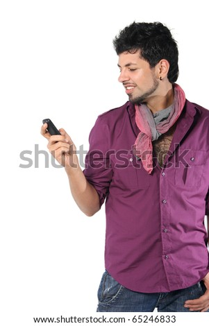 young man talking on the phone on the white background