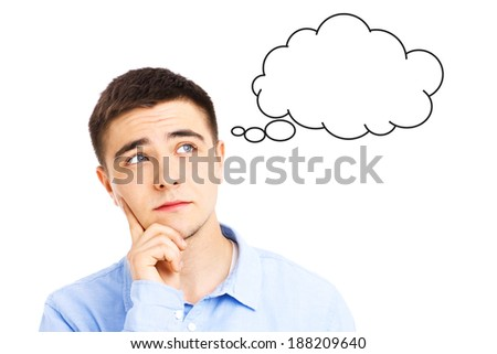Young man thinking with fake cloud over white background