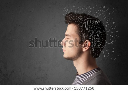 Young man thinking with white abstract lines and symbols - stock photo