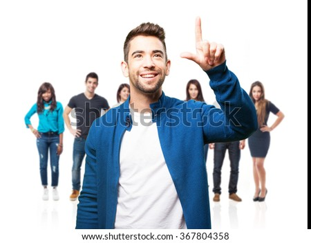 young man touching a screen gesture - stock photo