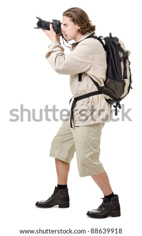 young man - tourist with backpack on a white background