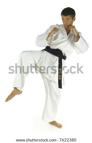 Young man training karate. Isolated on white background, side view.