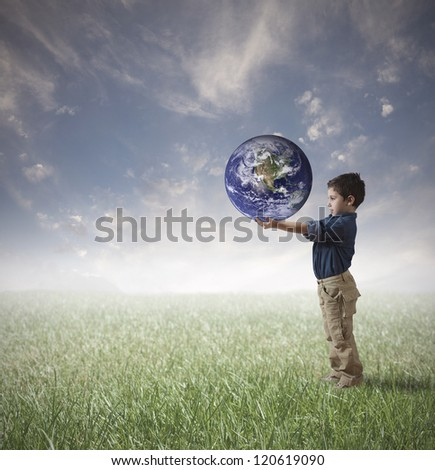 Young man try to save the world - stock photo