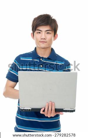 young man use laptop posing on white background - stock photo