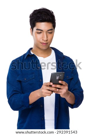 Young man use of the cellphone