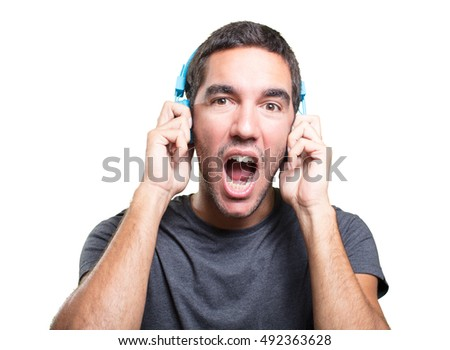 Young man using a headphones