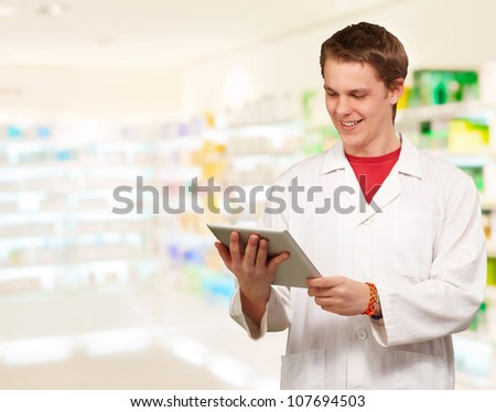 Young Man Using Digital Tablet, Indoor