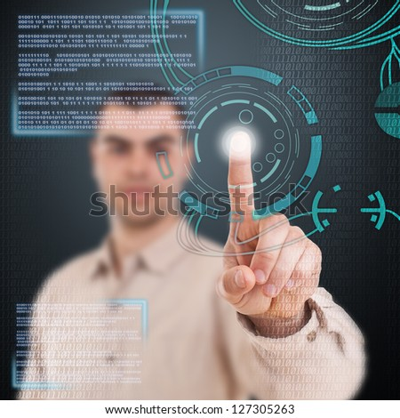 Young man using technologies of the future