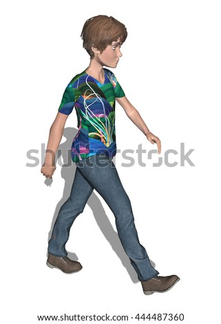 Young man walking cartoon created in 3D