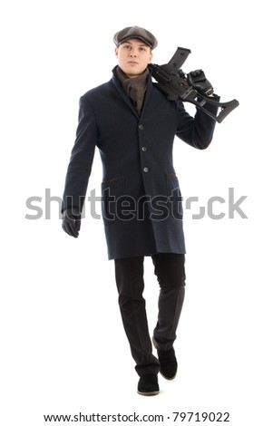 Young man walking. Isolated over white. - stock photo