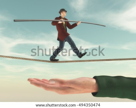 Young man walks on a rope in balance while a hand ensures safety. This is a 3d render illustration