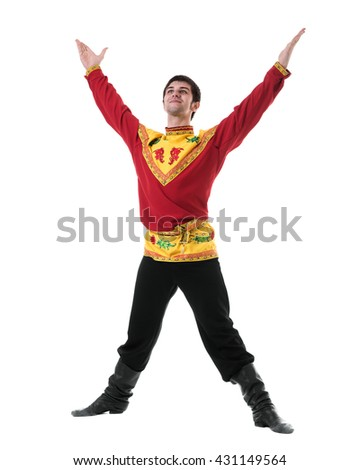 young man wearing a folk russian costume dancing against isolated white with copyspace - stock photo