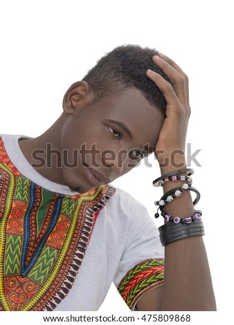 Young man wearing a Ghanaian style t-shirt, isolated