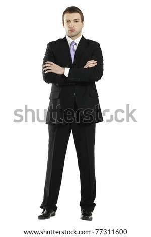 young man wearing elegant suit - stock photo